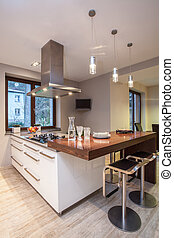 Travertine house - kitchen with TV - Travertine house -...