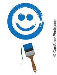 Paintbrush Smile - Paint brush painting a large blue smiling...
