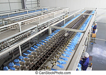 PVC gloves production line overhead in a factory, Luannan...