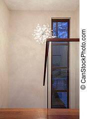 Travertine house - hallway with glass staircase.