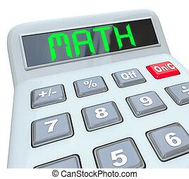 matemáticas, -, palabra, calculadora,...