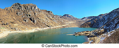Sunny mountain lake panorama - Mountain Tsongmo lake...
