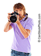 great lens - Handsome young man taking pictures on the...