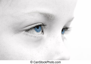 close up of a sad childs eyes