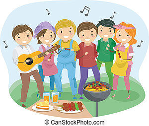 Barbeque Party - Illustration of People having a Barbeque...
