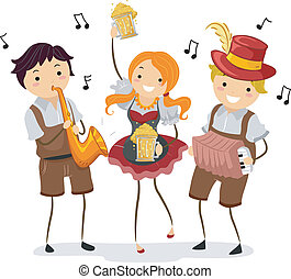 Oktoberfest - Illustration of People celebrating Oktoberfest