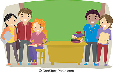 Teachers in a Classroom - Illustration of Group of Teachers...