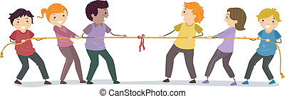 Tug of War - Illustration of Stickman People playing Tug Of...