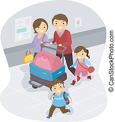 Family at the Airport - Illustration of Stickman Family at...