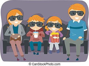 Family Watching a 3D or 4D Movie - Illustration of a...