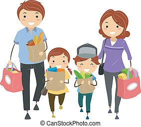 Family Grocery - Illustration of Stickman Family after...
