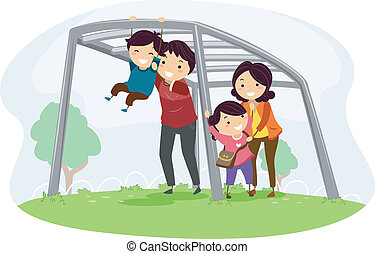 Family with Kids on Playing on a Monkey Bar