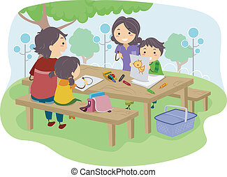 Family with Kids Drawing at the Park