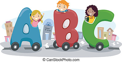 Kids riding in an ABC Car - Illustration of Kids riding in...