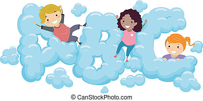 Kids in an ABC Cloud - Illustration of Kids playing in an...