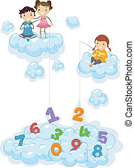 Kids on Clouds fishing for Numbers - Illustration of Kids on...