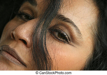 close up of woman\\\'s face