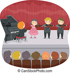 Kids performing a Musical Recital - Illustration of Kids...
