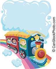Kids on a Rainbow Train 2 - Illustration of Kids on a...