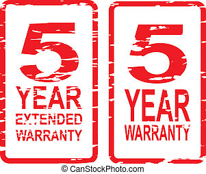 5 Year Warranty Stamps - Red rubber stamp vector for 5 year...