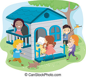 Kids on an Outdoor Playhouse - Illustration of Kids Playing...