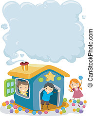 Kids on a Playhouse with Smoke on the Chimney