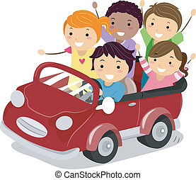 Kids on a Toy Car - Illustration of Stickman Kids riding a...