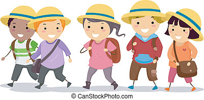 Kids with Uniform Hat - Illustration of Stickman School Kids...