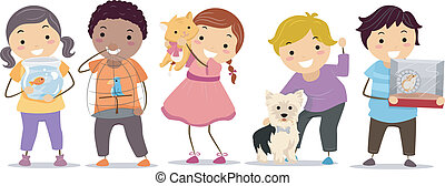 Kids with Pets - Illustration of Stickman Kids with their...
