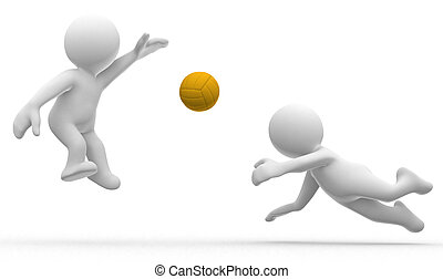 Volley - 3d cute abstract humanoids play volley ball