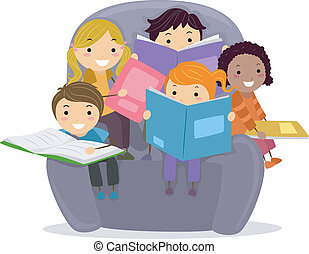 Kids Reading Books - Illustration of Little Kids sitting on...