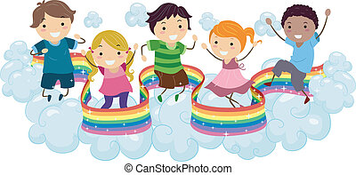 Kids on Rainbow Clouds - Illustration of Kids playing on the...