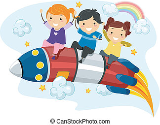 Kids Rocket Ride - Illustration of Little Kids riding on a...