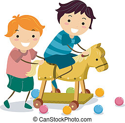 Boys with a Wooden Toy Horse - Illustration of Little Boys...