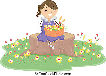 Little Girl with Basket of Flowers