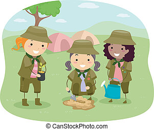 Girlscout Kids - Illustration of Little Girlscouts...