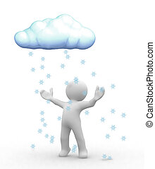 Snow cloud - 3d happy human look at snow cloud
