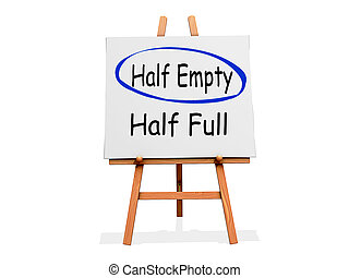 Art Easel Half Empty not Half Full - Art Easel on a white...