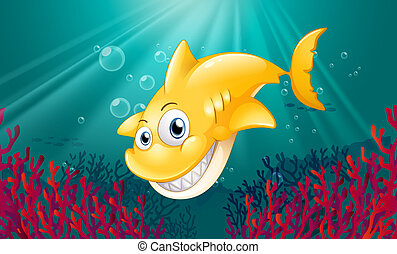 A yellow shark smiling under the sea - Illustration of a...