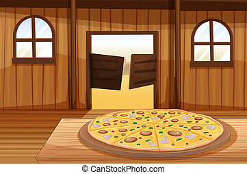 A pizza pie in the table - Illustration of a pizza pie in...