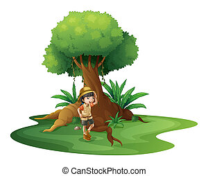 A young girl near the giant tree