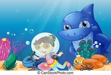 A young scuba diver - Illustration of a young scuba diver