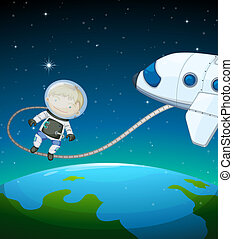 An astronaut in the outer space - Illustration of an...