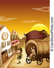 A wagon with kids near a saloon - Illustration of a wagon...