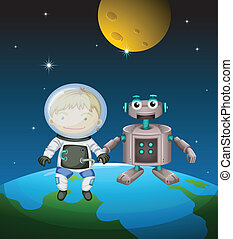 An astronaut beside a robot in the outer space -...