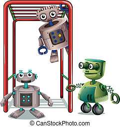 Three robots playing - Illustration of the three robots...