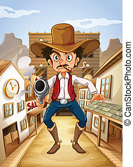 A Mexican man holding a gun - Illustration of a Mexican man...