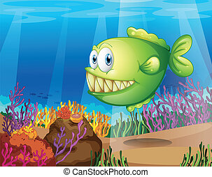 A green piranha - Illustration of a green piranha