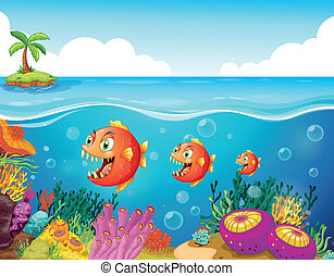 A school of fish near the coral reefs - Illustration of a...