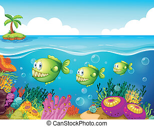Three green piranhas under the sea - Illustration of the...